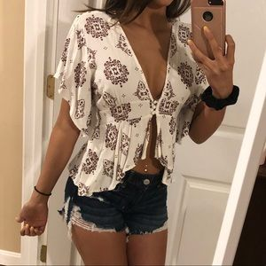 Charlotte Russe White And Maroon Blouse